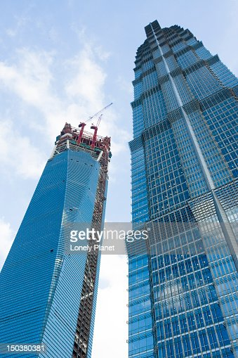 Jinmao Tower and World Financial Centre at left, Pudong. : Stock Photo