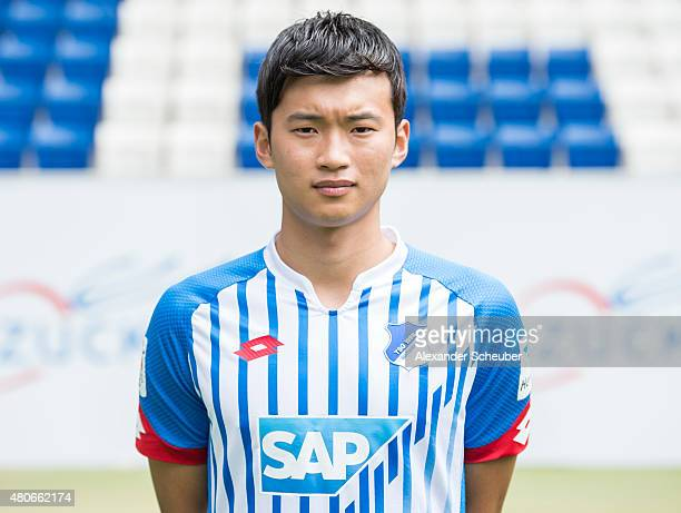 JinSu Kim poses during the team presentation of 1899 Hoffenheim at Wirsol RheinNeckarArena on July 14 2015 in Sinsheim Germany