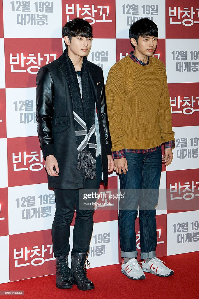 Jinwoon and Seulong of South Korean boy band 2AM attend the 'Love 119' VIP Screening at Kyung Hee University on December 11, 2012 in Seoul, South Korea. The film will open on December 19 in South Korea.