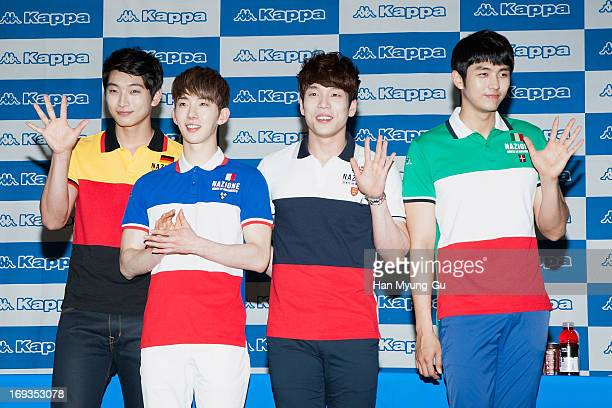 Jinwoon Jo Kwon Changmin and Seulong of South Korean boy band 2AM attend the autograph session for Kappa at Hyundai Department Store on May 23 2013...