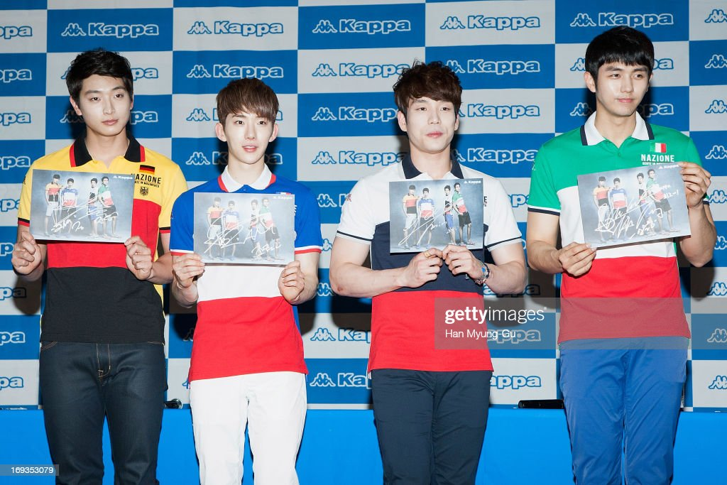 Jinwoon, Jo Kwon, Changmin and Seulong of South Korean boy band 2AM attend the autograph session for Kappa at Hyundai Department Store on May 23, 2013 in Seoul, South Korea.