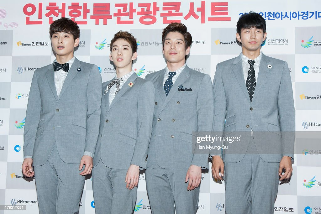 Jinwoon, Jo Kwon, <a gi-track='captionPersonalityLinkClicked' href=/galleries/search?phrase=Shim+Changmin&family=editorial&specificpeople=7420402 ng-click='$event.stopPropagation()'>Shim Changmin</a> and Seulong of South Korean boy band 2AM attend the '2013 Incheon Korean Music Wave' Photocall at Incheon Munhak Stadium on September 1, 2013 in Incheon, South Korea.