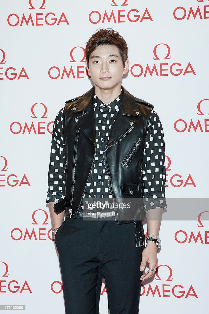 Jinwoon of South Korean boy band 2AM attends the 'OMEGA' Co-Axial Movement Exhibition at Beyond Museum on July 8, 2013 in Seoul, South Korea.