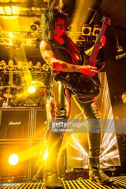 Jinxx of Black Veil Brides performs on stage during an intimate European tour rehersal show for fans at Electric Ballroom on March 15 2015 in London...