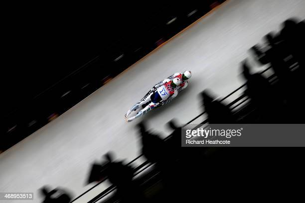 Jinyong Park and Jung Myung Cho of Korea compete in the Men's Luge Doubles on Day 5 of the Sochi 2014 Winter Olympics at Sliding Center Sanki on...