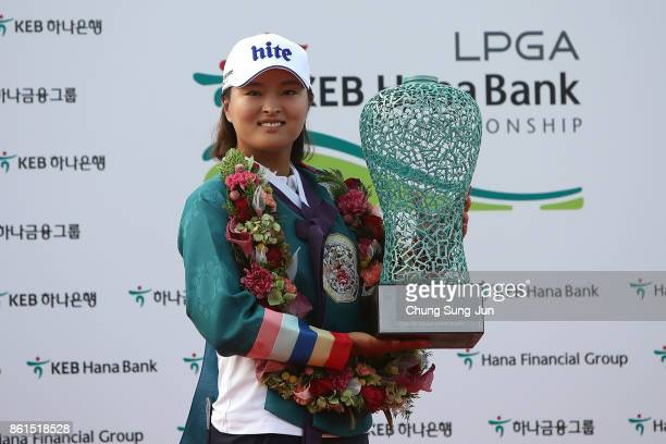 JinYoung Ko of South Korea lifts the winners trophy during a ceremony following the LPGA KEB Hana Bank Championship at the Sky 72 Golf Club Ocean...