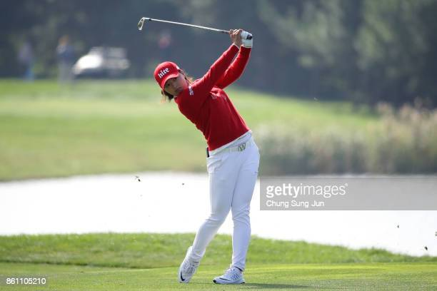 JinYoung Ko of South Korea plays a shot on the 2nd hole during the third round of the LPGA KEB Hana Bank Championship at the Sky 72 Golf Club Ocean...