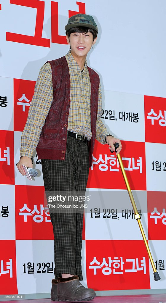 JinYoung of B1A4 attends the movie 'Miss Granny' free hug event at Times Square on February 13 2014 in Seoul South Korea