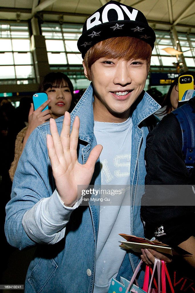 Jinyoung of South Korean boy band B1A4 is seen on departure at Incheon International Airport on March 8, 2013 in Incheon, South Korea.