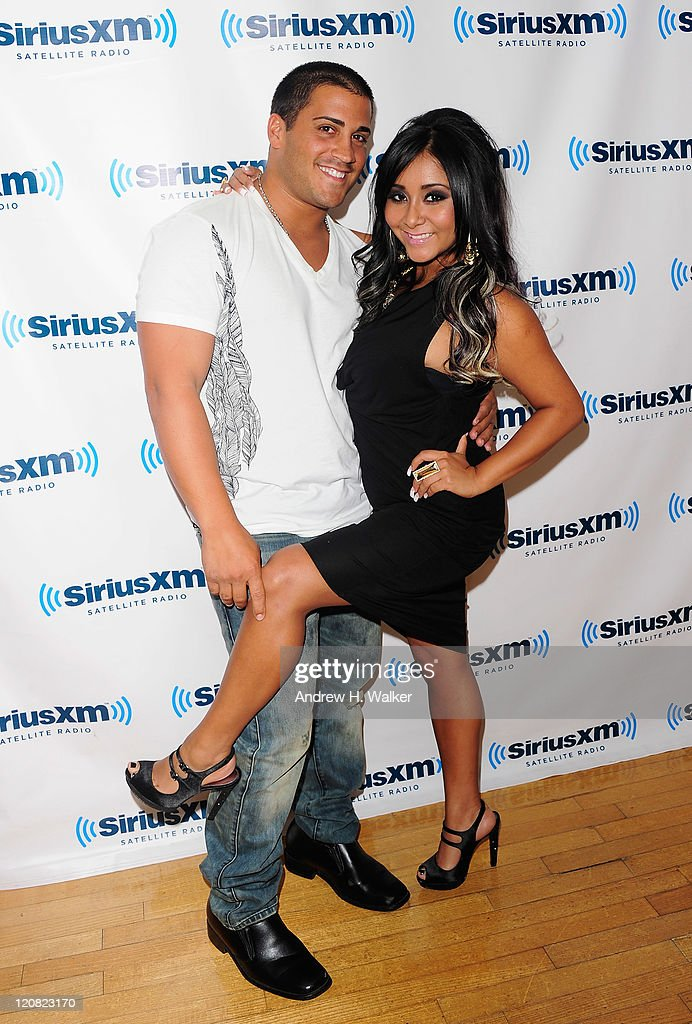 Jionni LaValle and TV personality Nicole 'Snooki' Polizzi visit SiriusXM's studio on August 11, 2011 in New York City.