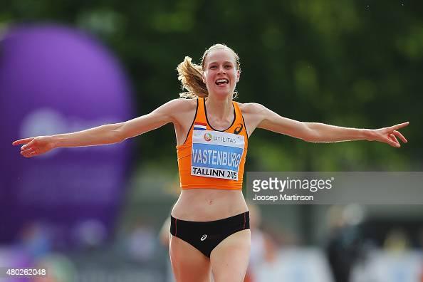Jip Vastenburg of Netherlands celebrates winning the Women's 10000m on day two of the European Athletics U23 Championships at Kadriorg Stadium on...