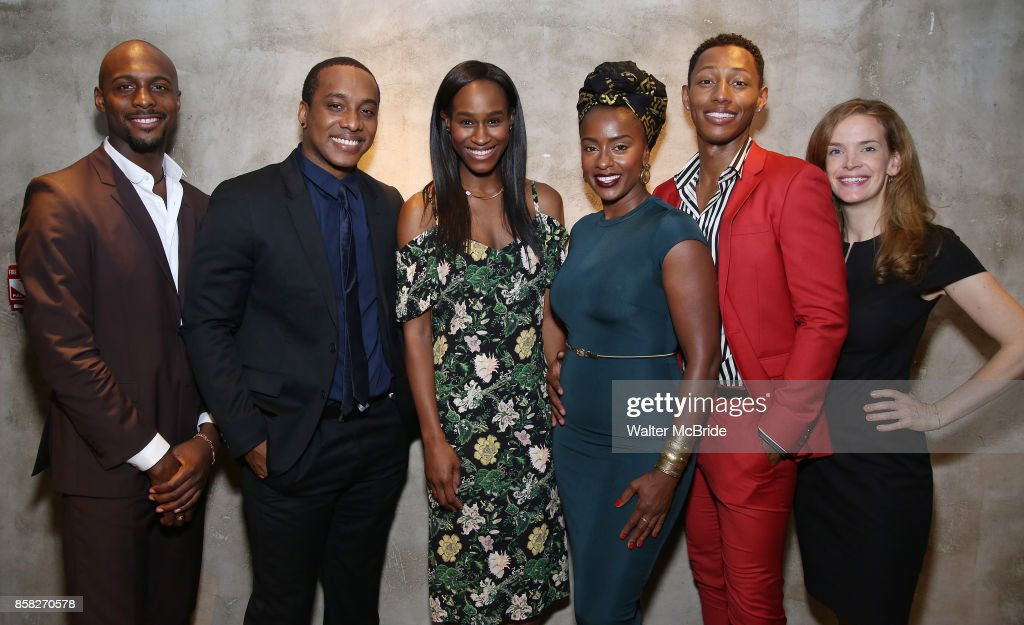 Jireh Breon Holder, Hampton Fluker, Nneka Okafor, Eboni Flowers, Brandon Gill, and Margot Bordelon attends the Roundabout Theatre Company's Opening Night Party for 'Too Heavy For Your Pocket' at Burger and Lobster on October 5, 2017 in New York City.