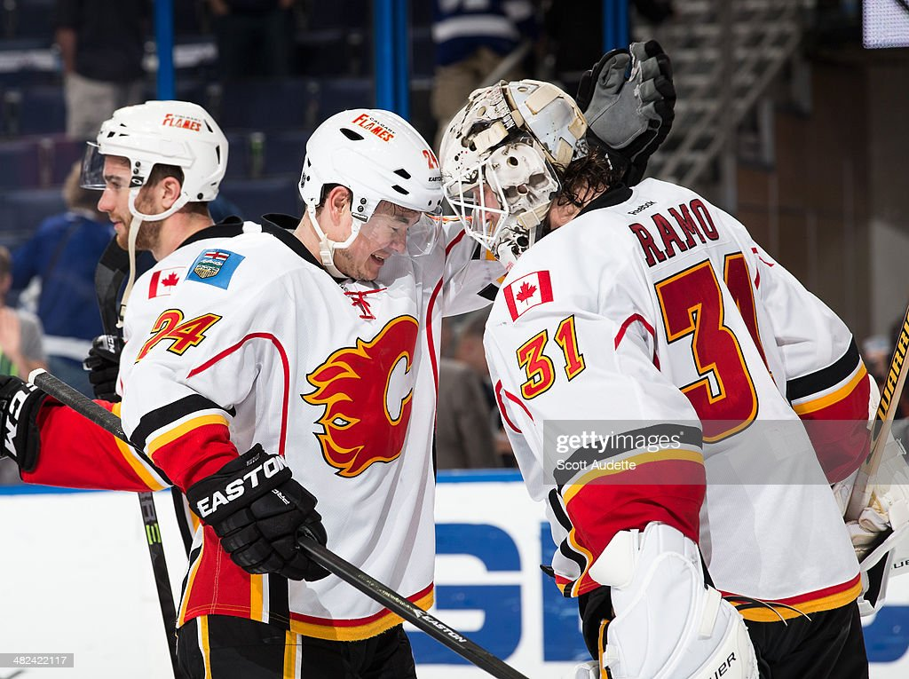 <a gi-track='captionPersonalityLinkClicked' href=/galleries/search?phrase=Jiri+Hudler&family=editorial&specificpeople=2118675 ng-click='$event.stopPropagation()'>Jiri Hudler</a> #24 and goalie <a gi-track='captionPersonalityLinkClicked' href=/galleries/search?phrase=Karri+Ramo&family=editorial&specificpeople=716721 ng-click='$event.stopPropagation()'>Karri Ramo</a> #31 of the Calgary Flames celebrate the win against the Tampa Bay Lightning at the Tampa Bay Times Forum on April 3, 2014 in Tampa, Florida.