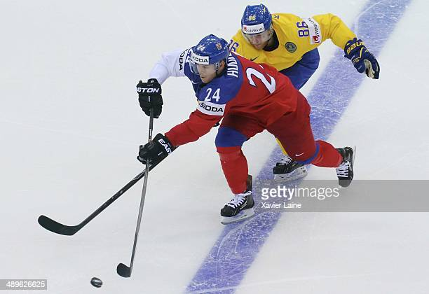 Jiri Hudler of Czech Republic and Linus Klasen of Sweden during the 2014 IIHF World Championship between Sweden and Czech Republic at Chizhovka arena...