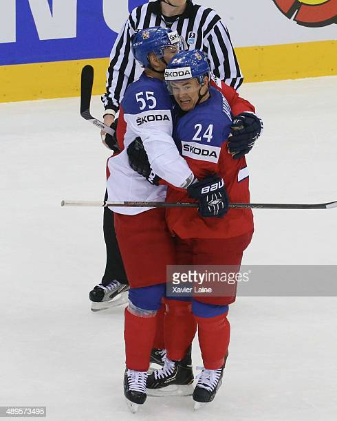MINSK BELARUS MAY Jiri Hudler of Czech Republic celebrate his goal with Martin Sevc during the 2014 IIHF World Championship between Sweden and Czech...