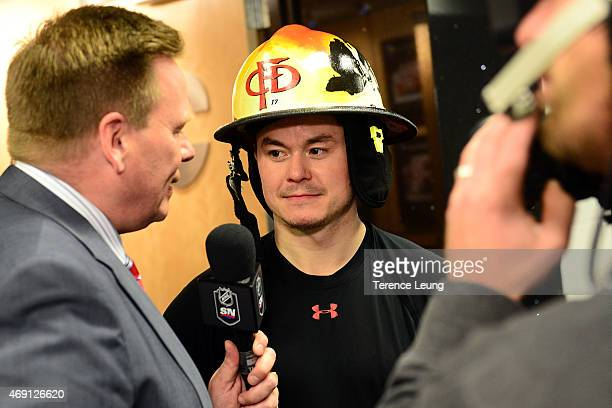 Jiri Hudler of the Calgary Flames addresses the media after a win against the Los Angeles Kings at Scotiabank Saddledome on April 9 2015 in Calgary...