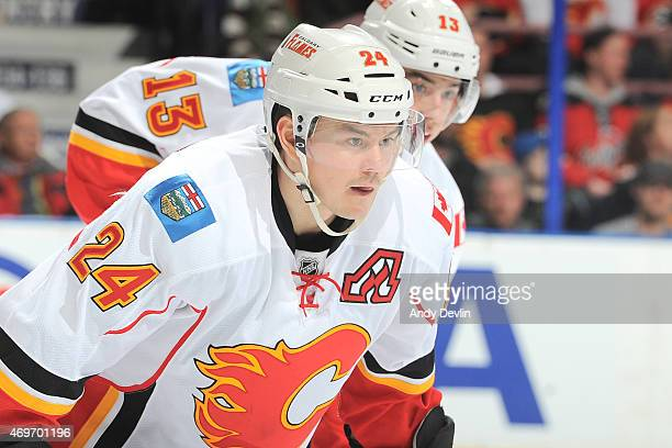 Jiri Hudler of the Calgary Flames lines up for a face off during the game against the Edmonton Oilers on April 4 2015 at Rexall Place in Edmonton...