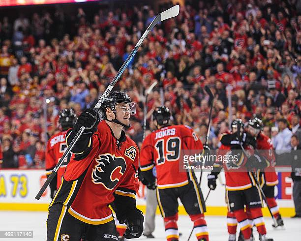Jiri Hudler of the Calgary Flames salutes the crowd after defeating the Los Angeles Kings during an NHL game at Scotiabank Saddledome on April 9 2015...