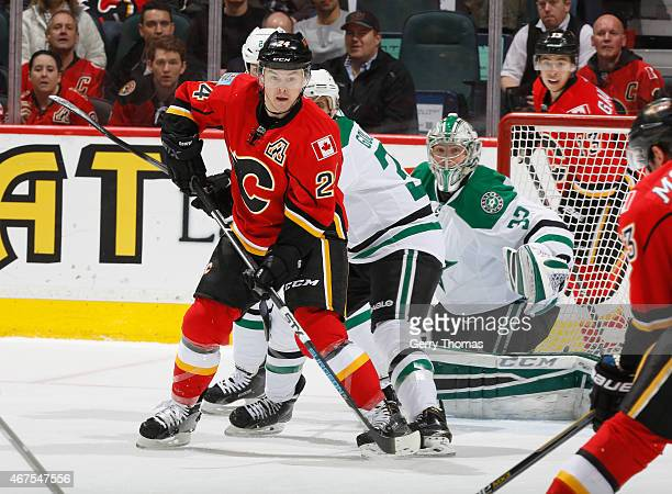 Jiri Hudler of the Calgary Flames sets up shop in front of the net against the Dallas Stars at Scotiabank Saddledome on March 25 2015 in Calgary...