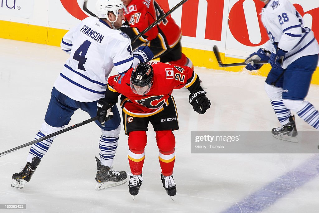 <a gi-track='captionPersonalityLinkClicked' href=/galleries/search?phrase=Jiri+Hudler&family=editorial&specificpeople=2118675 ng-click='$event.stopPropagation()'>Jiri Hudler</a> #24 of the Calgary Flames skates against <a gi-track='captionPersonalityLinkClicked' href=/galleries/search?phrase=Cody+Franson&family=editorial&specificpeople=2125769 ng-click='$event.stopPropagation()'>Cody Franson</a> #4 of the Toronto Maple Leafs at Scotiabank Saddledome on October 30, 2013 in Calgary, Alberta, Canada.