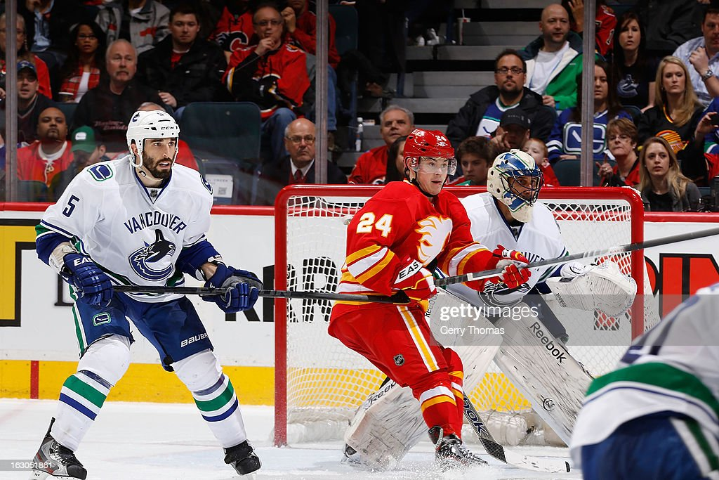 <a gi-track='captionPersonalityLinkClicked' href=/galleries/search?phrase=Jiri+Hudler&family=editorial&specificpeople=2118675 ng-click='$event.stopPropagation()'>Jiri Hudler</a> #24 of the Calgary Flames skates against <a gi-track='captionPersonalityLinkClicked' href=/galleries/search?phrase=Jason+Garrison&family=editorial&specificpeople=2143635 ng-click='$event.stopPropagation()'>Jason Garrison</a> #5 and <a gi-track='captionPersonalityLinkClicked' href=/galleries/search?phrase=Roberto+Luongo&family=editorial&specificpeople=202638 ng-click='$event.stopPropagation()'>Roberto Luongo</a> #1 of the Vancouver Canucks on March 3, 2013 at the Scotiabank Saddledome in Calgary, Alberta, Canada.