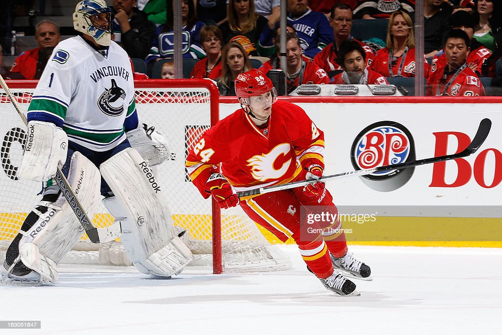 <a gi-track='captionPersonalityLinkClicked' href=/galleries/search?phrase=Jiri+Hudler&family=editorial&specificpeople=2118675 ng-click='$event.stopPropagation()'>Jiri Hudler</a> #24 of the Calgary Flames skates against <a gi-track='captionPersonalityLinkClicked' href=/galleries/search?phrase=Roberto+Luongo&family=editorial&specificpeople=202638 ng-click='$event.stopPropagation()'>Roberto Luongo</a> #1 of the Vancouver Canucks on March 3, 2013 at the Scotiabank Saddledome in Calgary, Alberta, Canada.