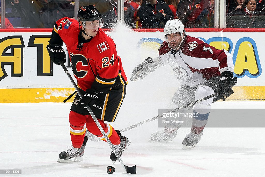 <a gi-track='captionPersonalityLinkClicked' href=/galleries/search?phrase=Jiri+Hudler&family=editorial&specificpeople=2118675 ng-click='$event.stopPropagation()'>Jiri Hudler</a> #24 of the Calgary Flames skates against <a gi-track='captionPersonalityLinkClicked' href=/galleries/search?phrase=Ryan+O%27Byrne&family=editorial&specificpeople=3126048 ng-click='$event.stopPropagation()'>Ryan O'Byrne</a> #3 of the Colorado Avalanche on January 31, 2013 at the Scotiabank Saddledome in Calgary, Alberta, Canada.