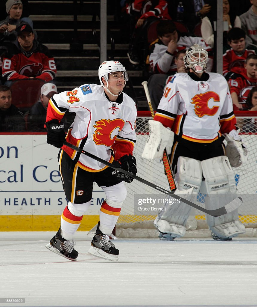 Jiri Hudler #24 of the Calgary Flames skates against the New Jersey Devils at the Prudential Center on April 7, 2014 in Newark, New Jersey. The Flames shutout the Devils 1-0.