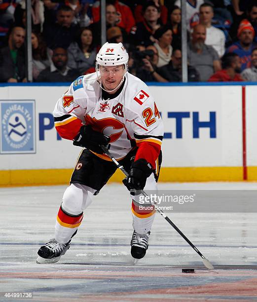 Jiri Hudler of the Calgary Flames skates against the New York Islanders at the Nassau Veterans Memorial Coliseum on February 28 2015 in Uniondale New...