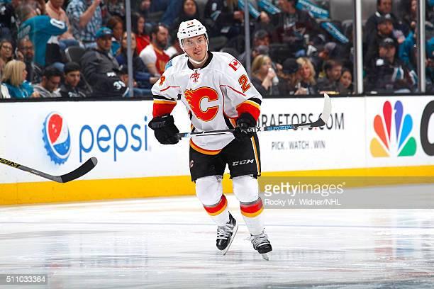Jiri Hudler of the Calgary Flames skates against the San Jose Sharks at SAP Center on February 11 2016 in San Jose California