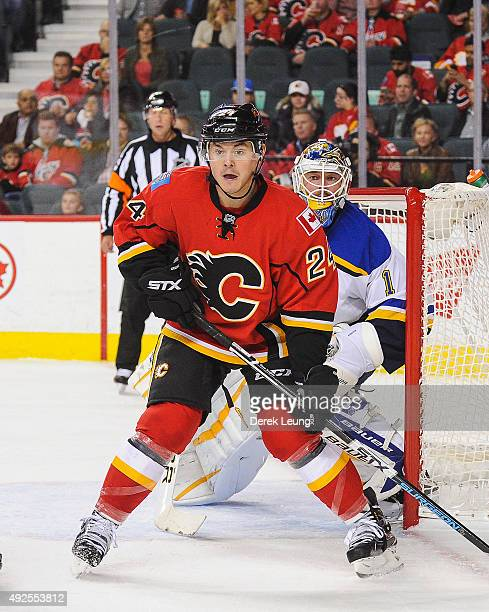 Jiri Hudler of the Calgary Flames skates against the St Louis Blues at Scotiabank Saddledome on October 13 2015 in Calgary Alberta Canada