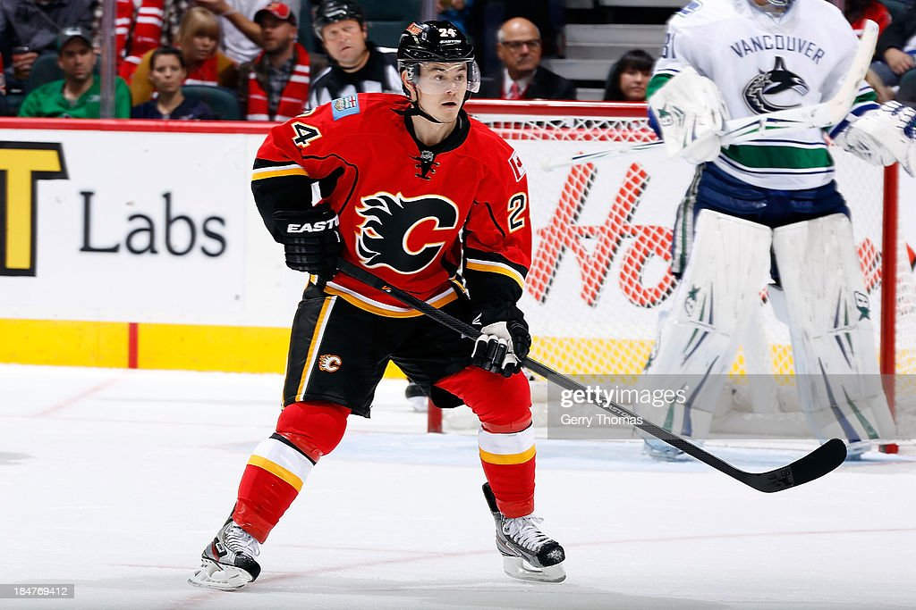 <a gi-track='captionPersonalityLinkClicked' href=/galleries/search?phrase=Jiri+Hudler&family=editorial&specificpeople=2118675 ng-click='$event.stopPropagation()'>Jiri Hudler</a> #24 of the Calgary Flames skates against the Vancouver Canucks at Scotiabank Saddledome on October 6, 2013 in Calgary, Alberta, Canada. The Canucks won 5-4.