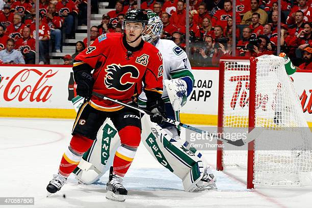 Jiri Hudler of the Calgary Flames skates against the Vancouver Canucks at Scotiabank Saddledome for Game Four of the Western Quarterfinals during the...