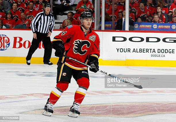 Jiri Hudler of the Calgary Flames skates against the Vancouver Canucks at Scotiabank Saddledome for Game Six of the Western Quarterfinals during the...