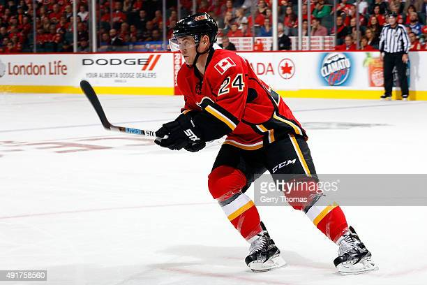 Jiri Hudler of the Calgary Flames skates against the Vancouver Canucks at Scotiabank Saddledome during the NHL season opener on October 7 2015 in...
