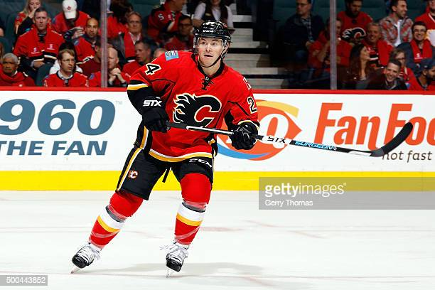 Jiri Hudler of the Calgary Flames skates against the Vancouver Canucks at Scotiabank Saddledome for the NHL season opener on October 7 2015 in...