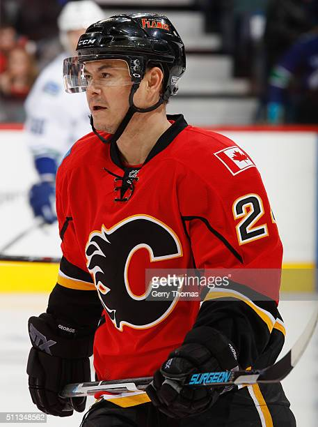 Jiri Hudler of the Calgary Flames skates against the Vancouver Canucks at Scotiabank Saddledome on February 19 2016 in Calgary Alberta Canada