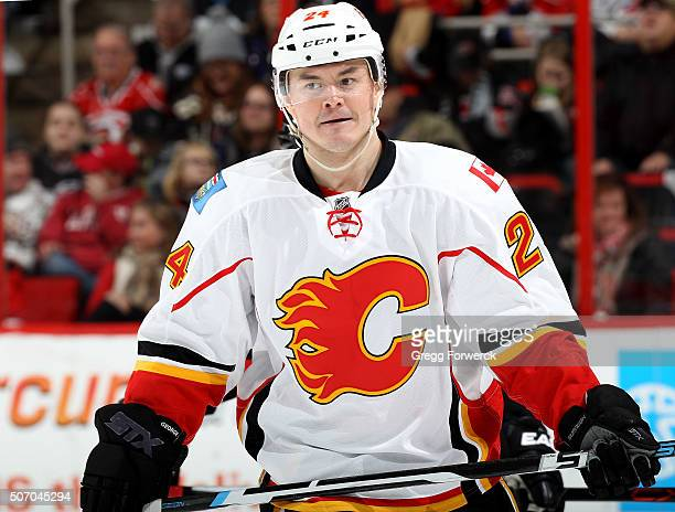 Jiri Hudler of the Calgary Flames skates back toward the bench during an NHL game against the Carolina Hurricanes at PNC Arena on January 24 2016 in...