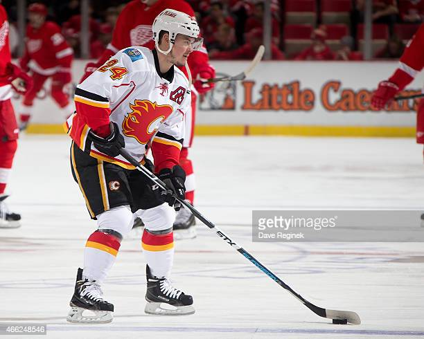 Jiri Hudler of the Calgary Flames skates in warmups prior to the NHL game against the Detroit Red Wings on March 6 2015 at Joe Louis Arena in Detroit...