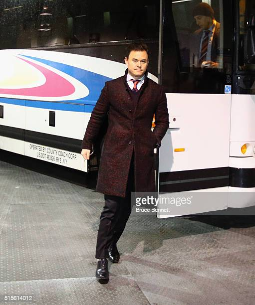 Jiri Hudler of the Florida Panthers arrives for the game against the New York Islanders at the Barclays Center on March 14 2016 in the Brooklyn...