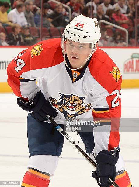 Jiri Hudler of the Florida Panthers gets ready during a faceoff against the Arizona Coyotes at Gila River Arena on March 5 2016 in Glendale Arizona