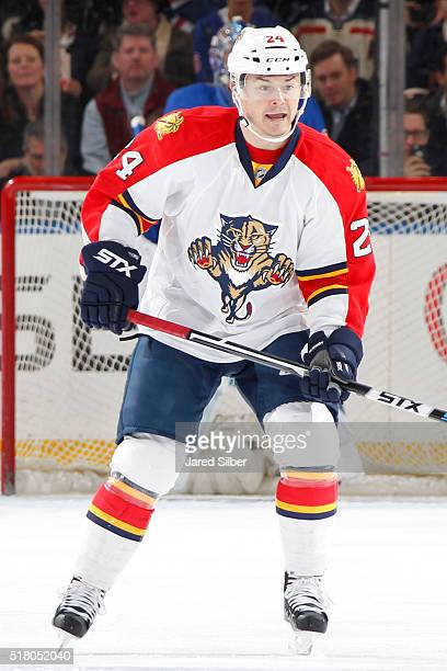 Jiri Hudler of the Florida Panthers skates against the New York Rangers at Madison Square Garden on March 21 2016 in New York City The New York...