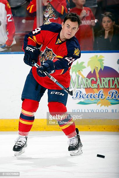 Jiri Hudler of the Florida Panthers skates on the ice for warm ups prior to the start of the game against the Boston Bruins at the BBT Center on...