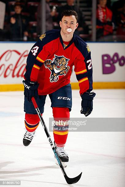 Jiri Hudler of the Florida Panthers skates on the ice prior to the start of the game against the Toronto Maple Leafs at the BBT Center on March 29...