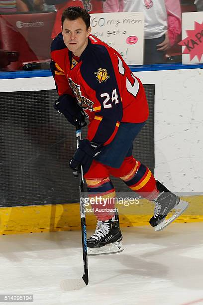 Jiri Hudler of the Florida Panthers skates prior to the game against the Boston Bruins at the BBT Center on March 7 2016 in Sunrise Florida The...