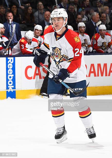 Jiri Hudler of the Florida Panthers skates up ice against the Toronto Maple Leafs during game action on April 4 2016 at Air Canada Centre in Toronto...