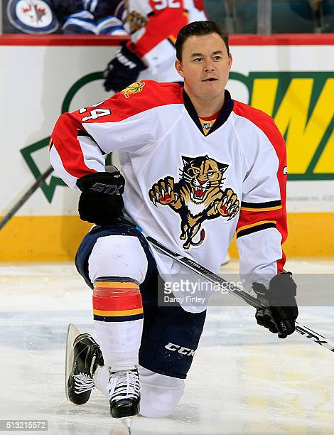 Jiri Hudler of the Florida Panthers takes part in the pregame warm up prior to NHL action against the Winnipeg Jets at the MTS Centre on March 1 2016...