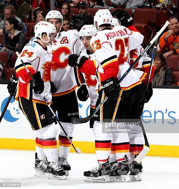 Jiri Hudler TJ Brodie Johnny Gaudreau Mark Giordano and Sean Monahan of the Calgary Flames celebrate Giordano's second period goal against the...