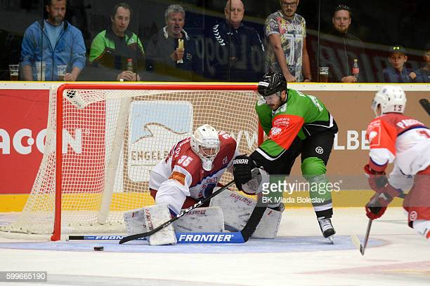 Jiri Kucny and goalie Dmitri Michalkov during the Champions Hockey League match between BK Mlada Boleslav and Yunost Minsk at SKOEnergo Arena on...