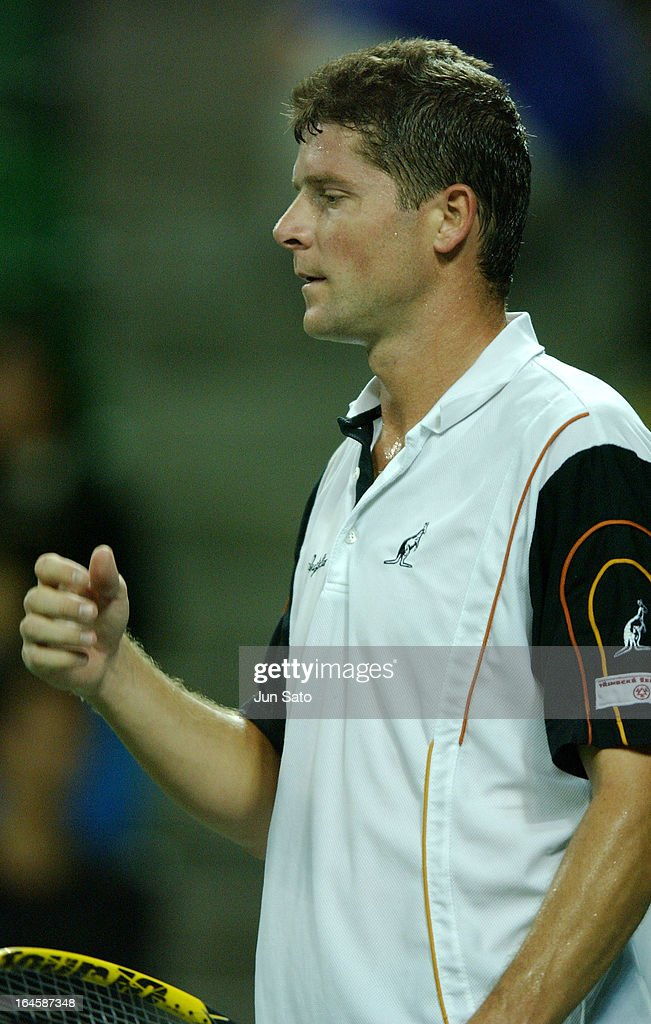 '<a gi-track='captionPersonalityLinkClicked' href=/galleries/search?phrase=Jiri+Novak&family=editorial&specificpeople=210775 ng-click='$event.stopPropagation()'>Jiri Novak</a> in action during the men's singles semi-final match against <a gi-track='captionPersonalityLinkClicked' href=/galleries/search?phrase=Lleyton+Hewitt&family=editorial&specificpeople=167178 ng-click='$event.stopPropagation()'>Lleyton Hewitt</a> at the AIG Japan Open Tennis Championship at Ariake Coliseum, in Tokyo Japan. Novak won the match 2-1 (6-4, 4-6, 6-2) (Photo by Jun Sato/WireImage)'